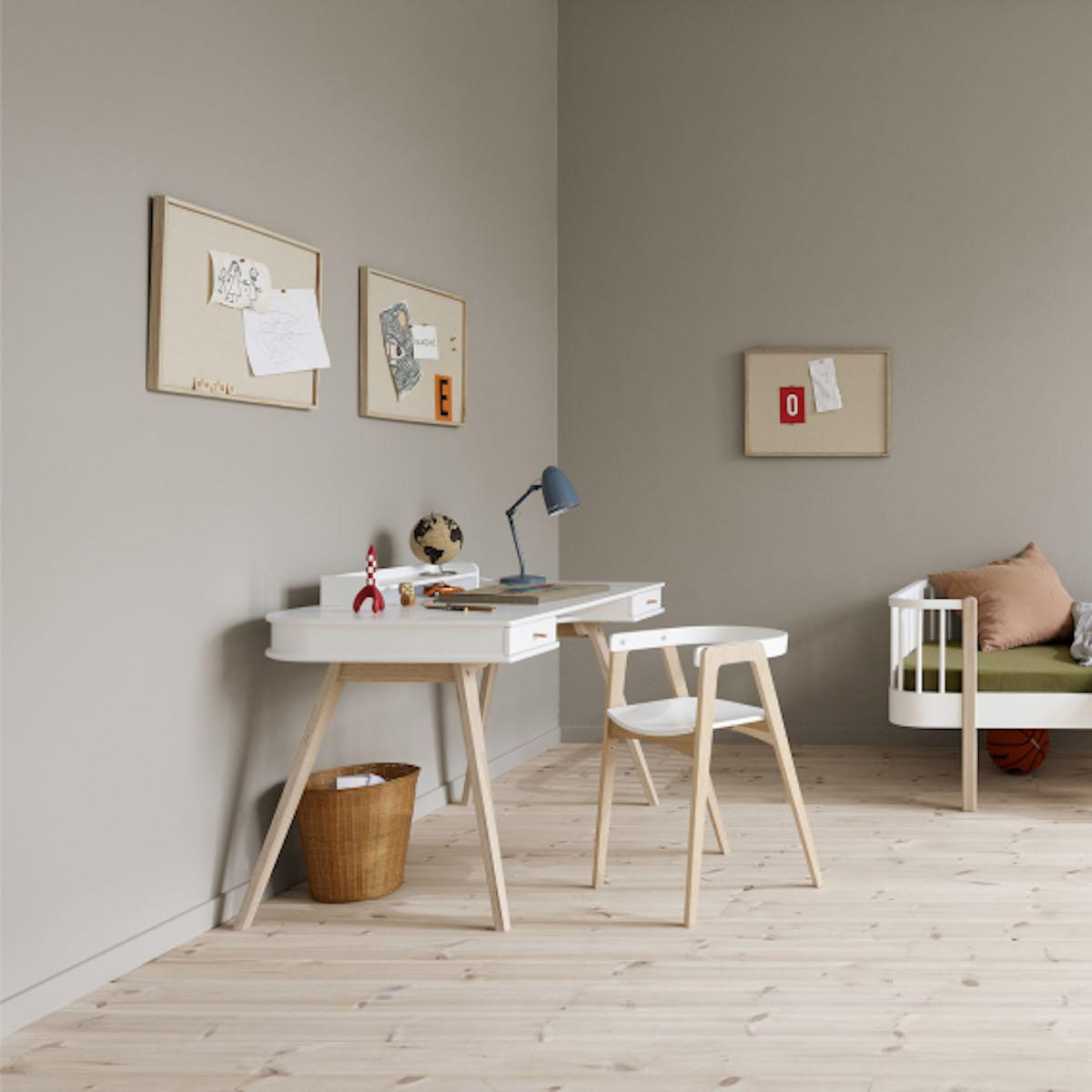 Bureau-chaise 66cm WOOD Oliver Furniture blanc-chêne