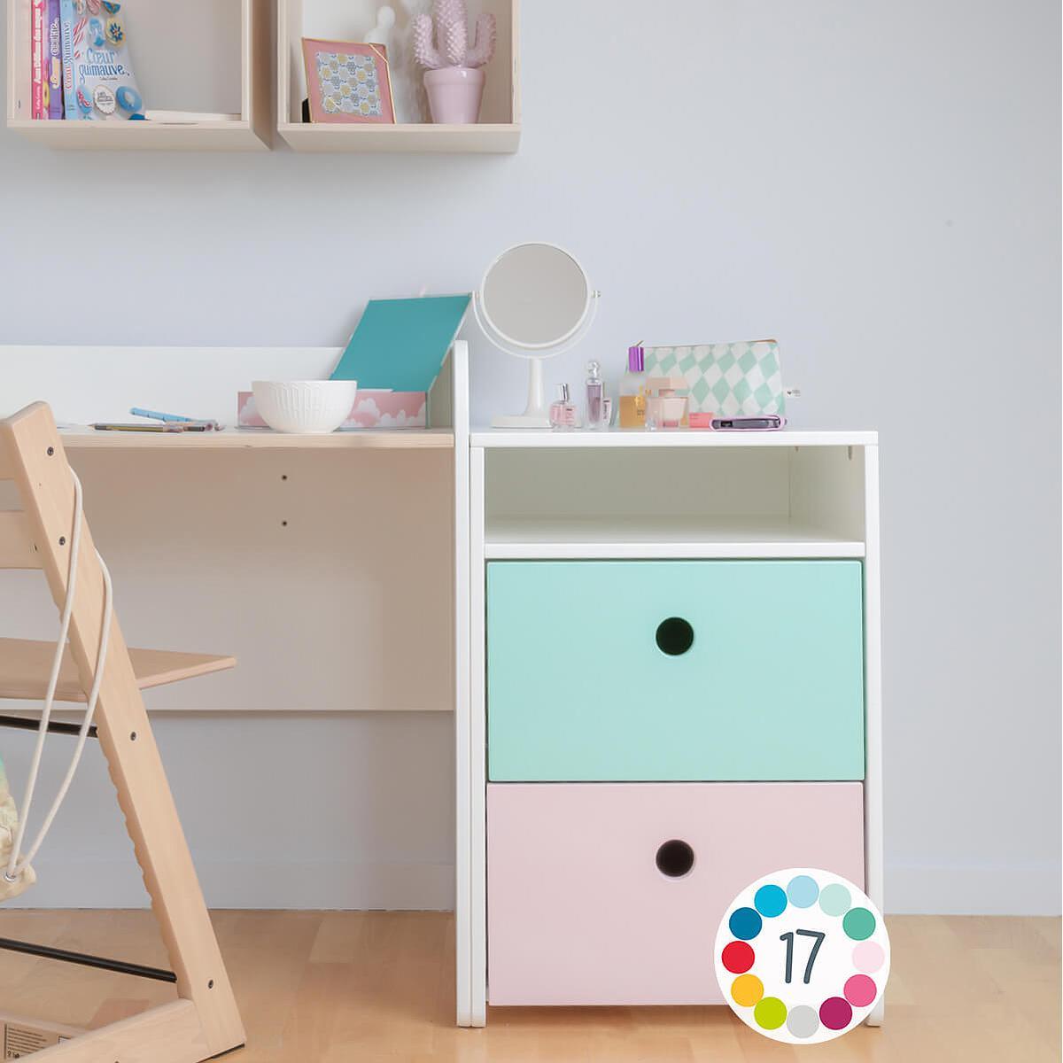 Bureau évolutif-petit meuble 2 tiroirs COLORFLEX Abitare Kids pearl grey-mint