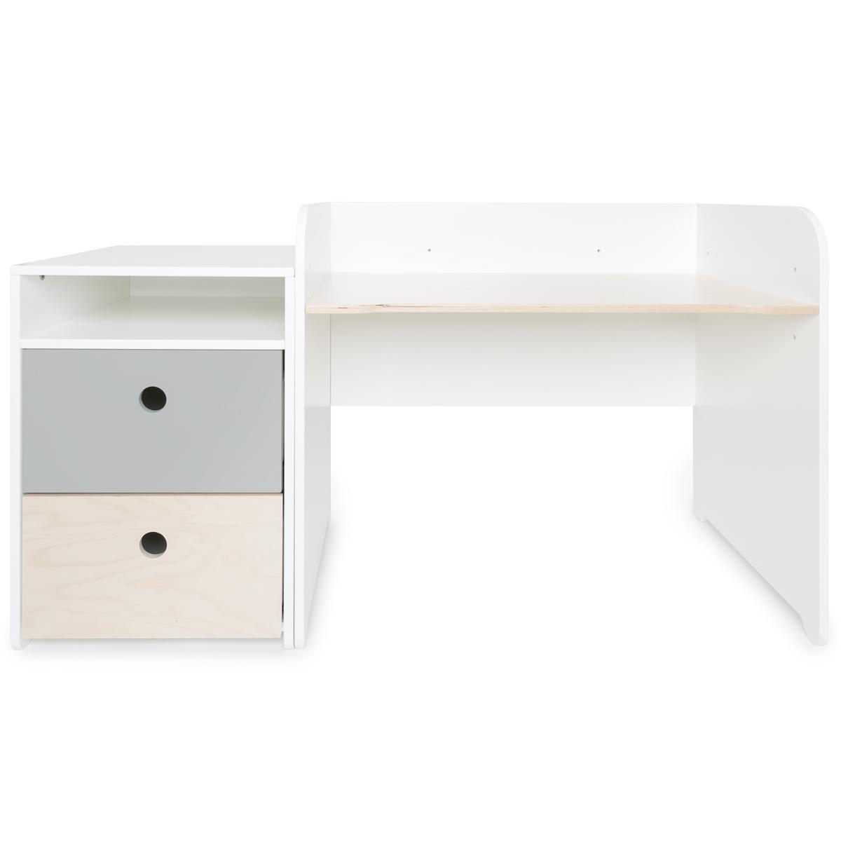 Bureau évolutif-petit meuble 2 tiroirs COLORFLEX Abitare Kids pearl grey-white wash
