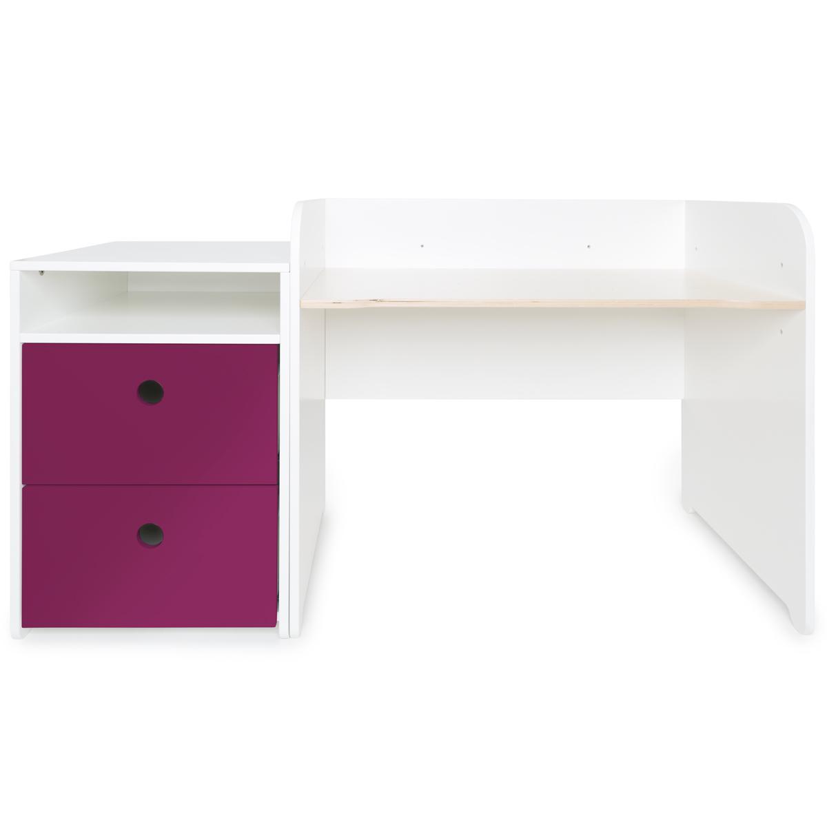 Bureau évolutif-petit meuble 2 tiroirs COLORFLEX Abitare Kids plum