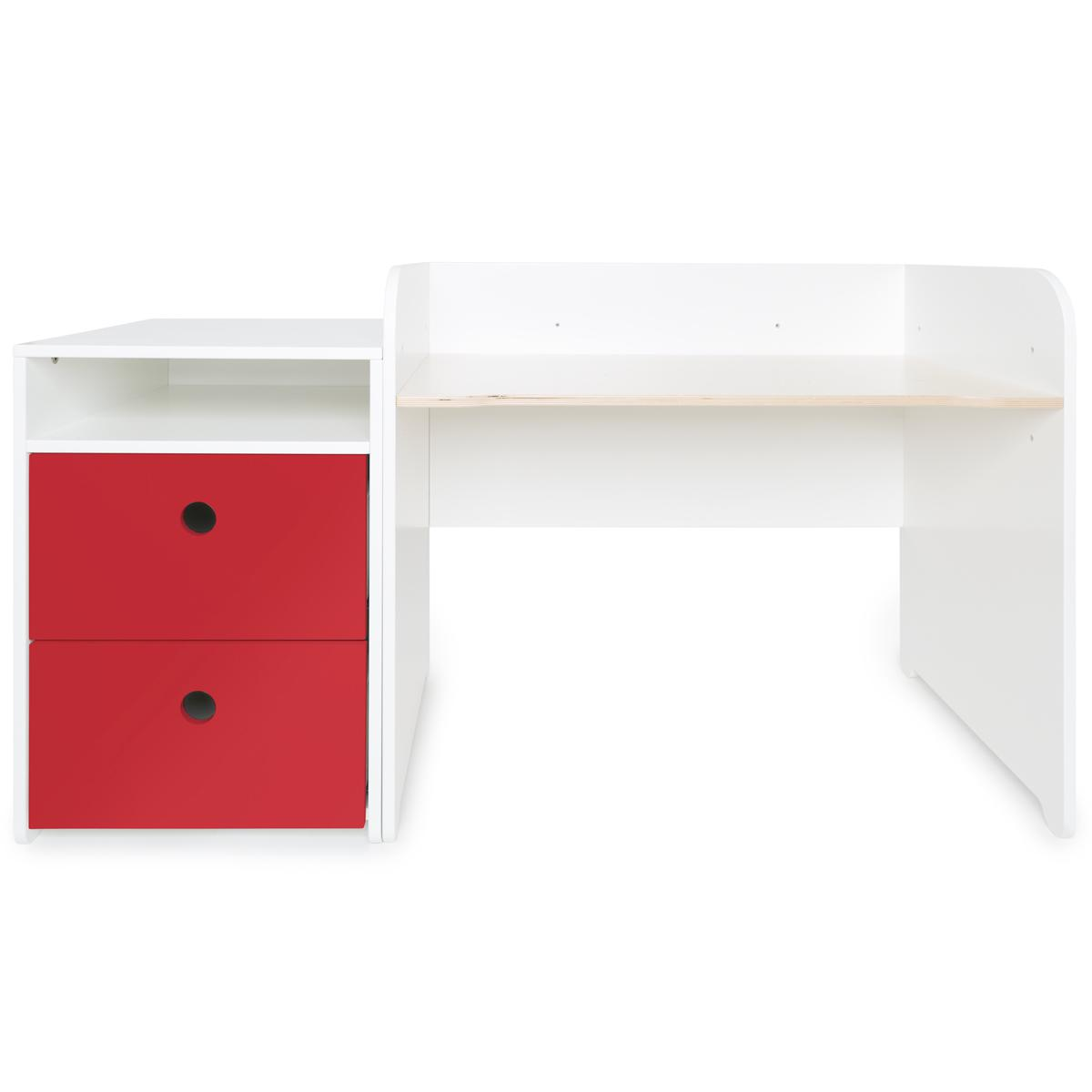 Bureau évolutif-petit meuble 2 tiroirs COLORFLEX Abitare Kids true red