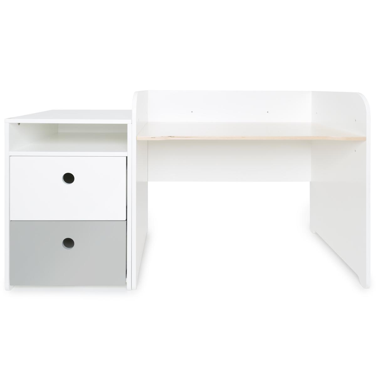 Bureau évolutif-petit meuble 2 tiroirs COLORFLEX Abitare Kids white-pearl grey