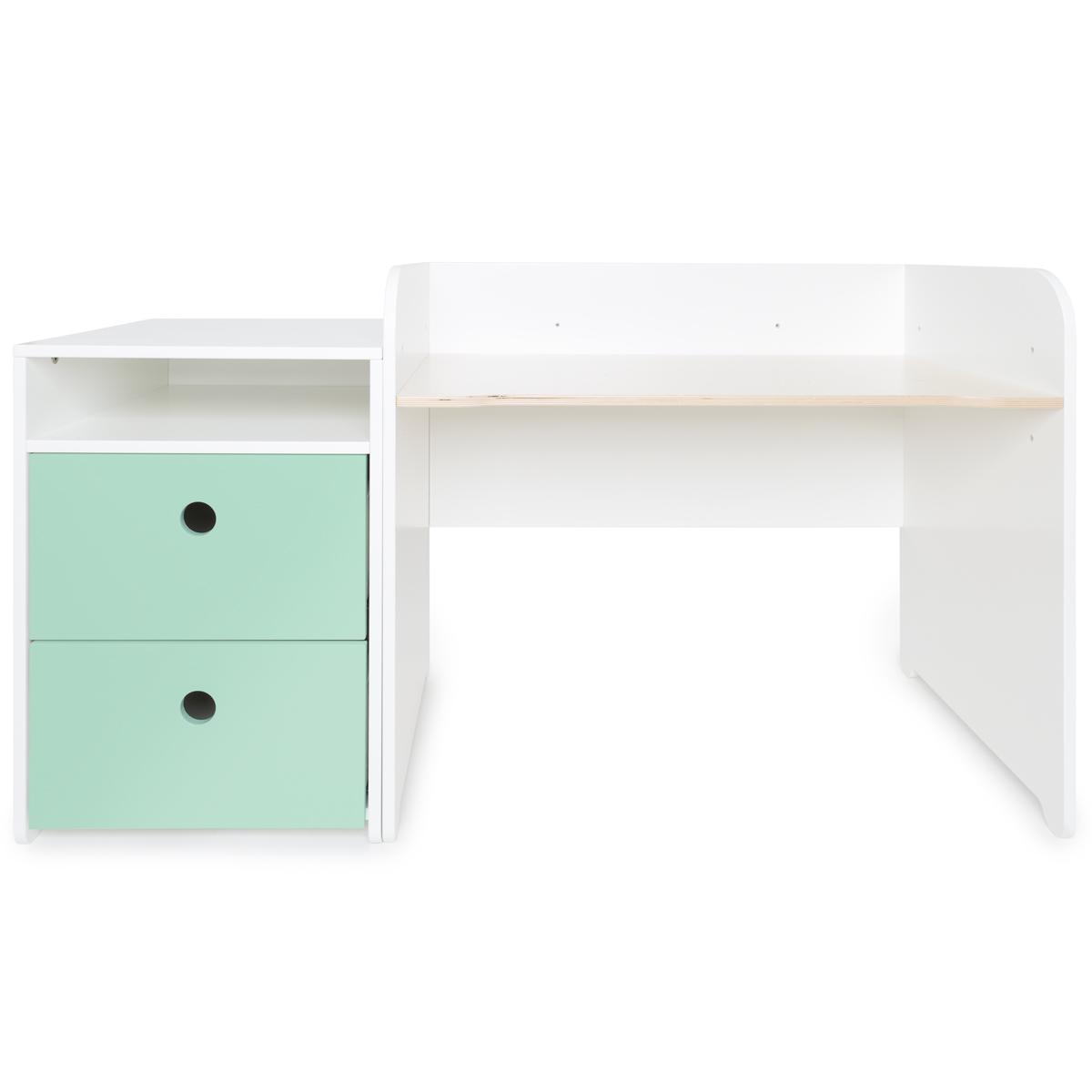 Bureau évolutif-petit meuble 2 tiroirs COLORFLEX mint