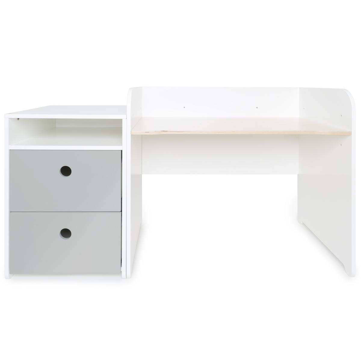 Bureau évolutif-petit meuble 2 tiroirs COLORFLEX pearl grey