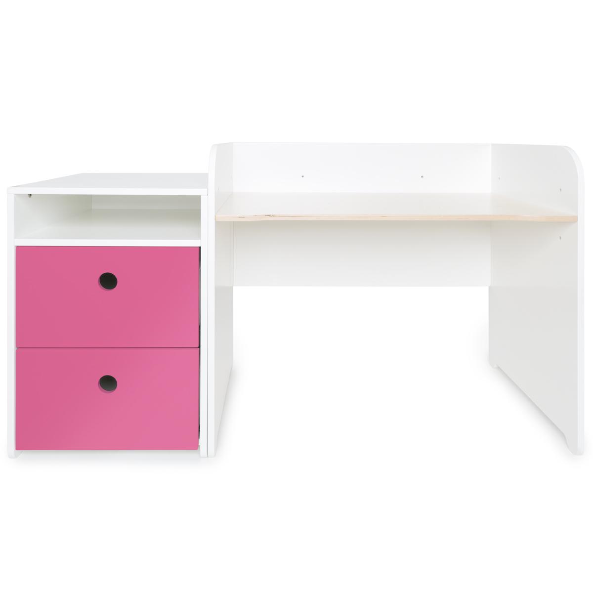 Bureau évolutif-petit meuble 2 tiroirs COLORFLEX pink
