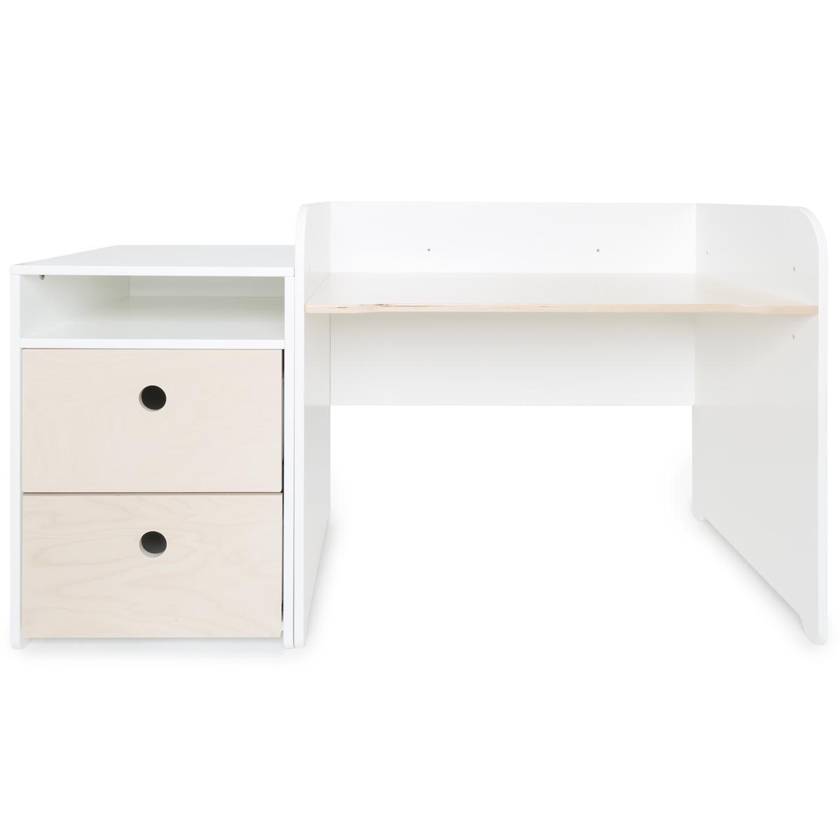 Bureau évolutif-petit meuble 2 tiroirs COLORFLEX white wash