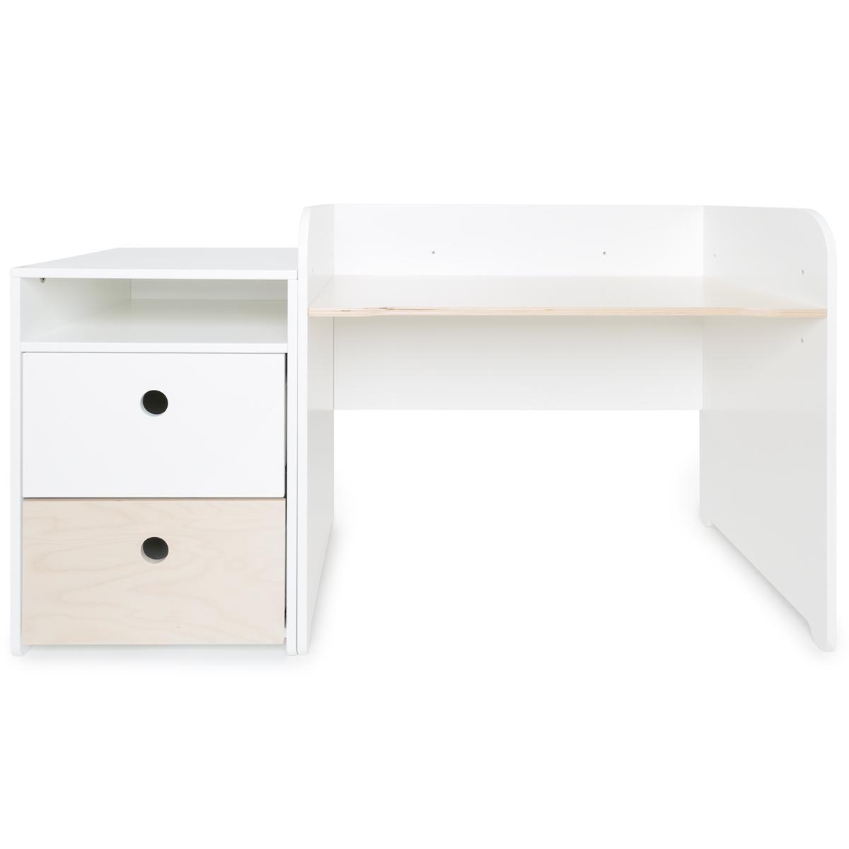 Bureau évolutif-petit meuble 2 tiroirs COLORFLEX white-white wash