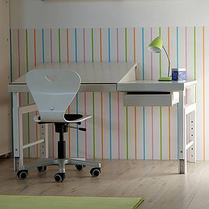 Bureau ZIGGY De Breuyn structure métal blanc-pieds hêtre blanc-plateau hêtre blanc