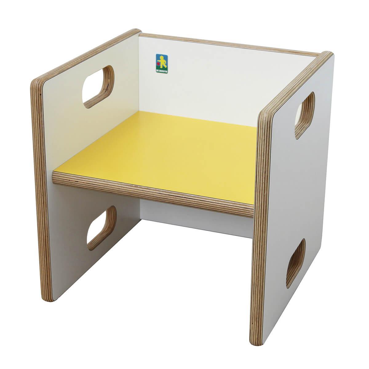 Chaise évolutive Ziggy de Breuyn Multiplex white HPL - seat yellow
