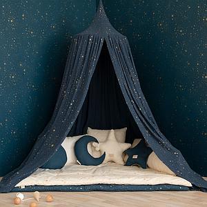 Ciel de lit AMOUR Nobodinoz gold stella-night blue
