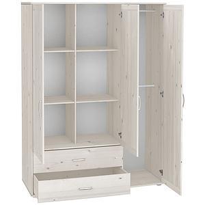 CLASSIC by Flexa Armoire 3 portes et 2 tiroirs blanchie avec réglettes blanches