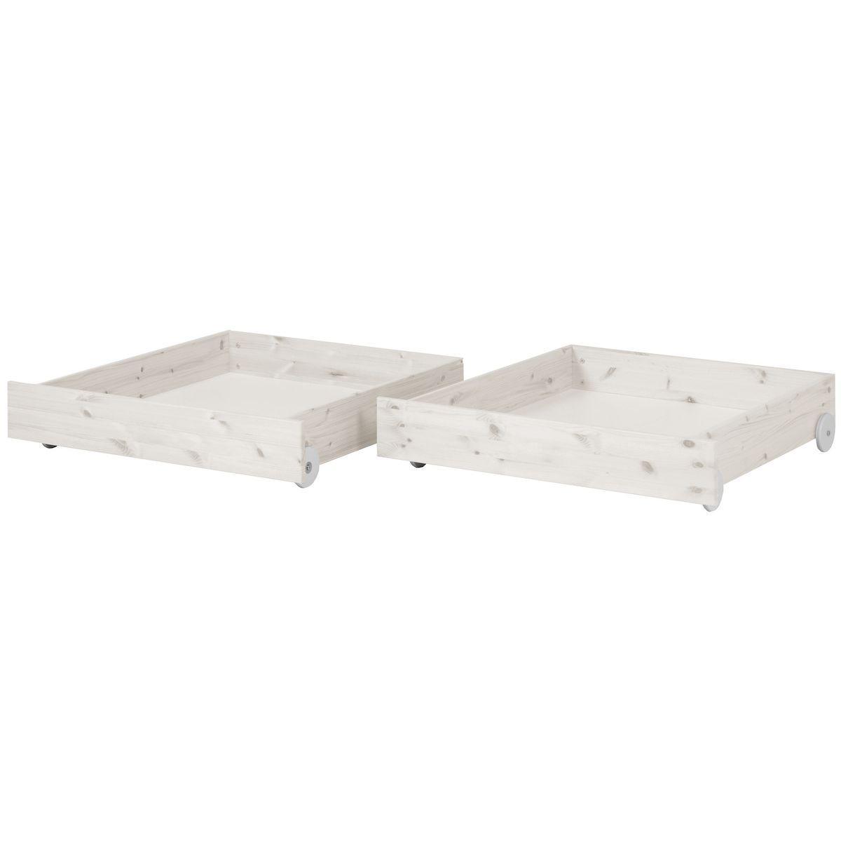 CLASSIC by Flexa Ensemble de 2 tiroirs blanchis pour lit simple ou lit superposé 90x200 cm