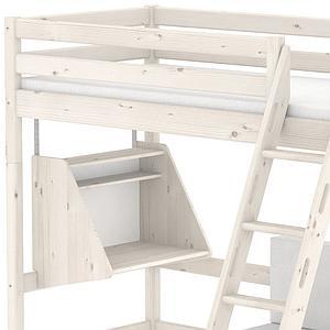CLASSIC by Flexa Lit mezzanine 90X200 + échelle inclinée + poignées intégrées avec bureau Click-On et module de couchage casa (hors matelas)