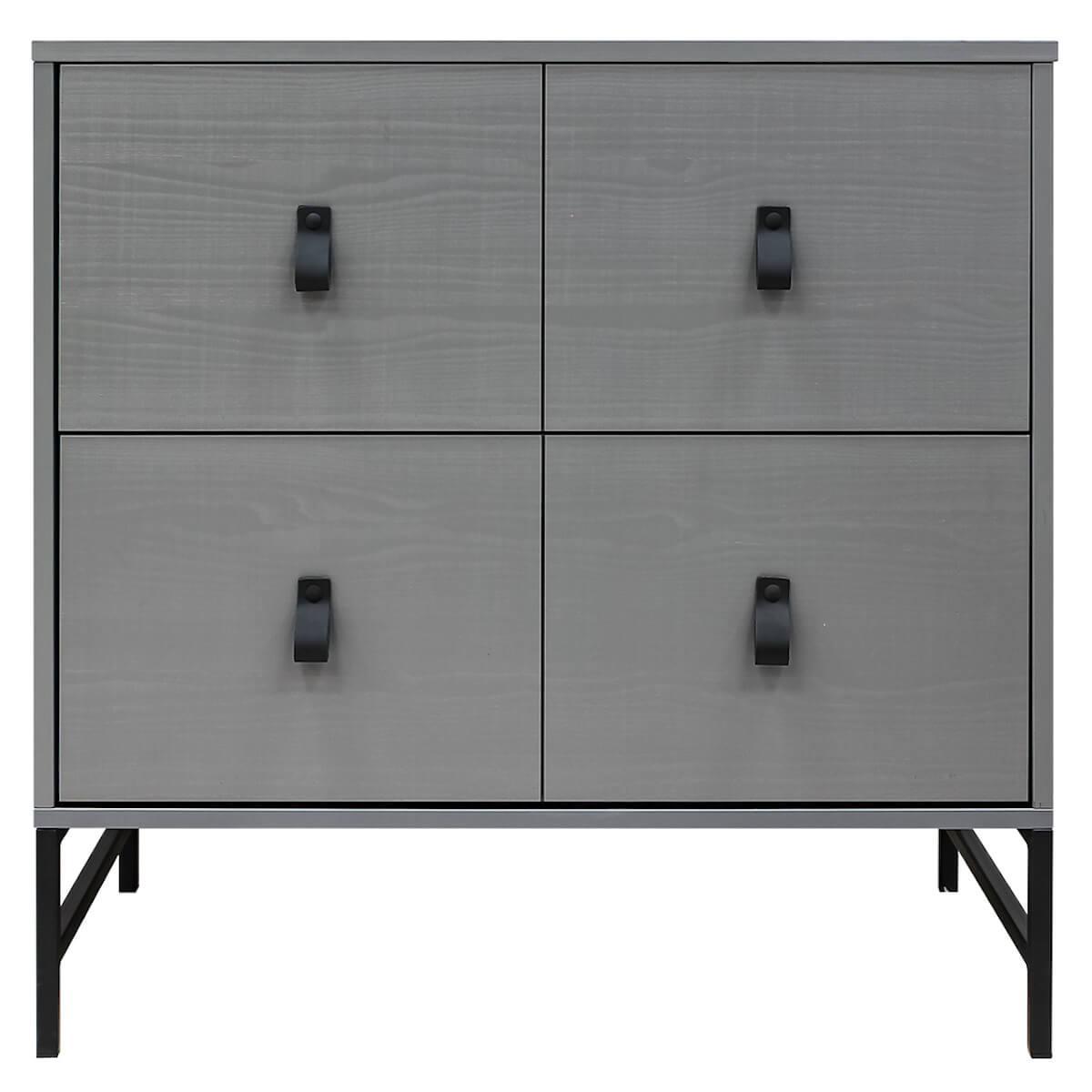 Commode 2 tiroirs MILO Bopita Steel Grey