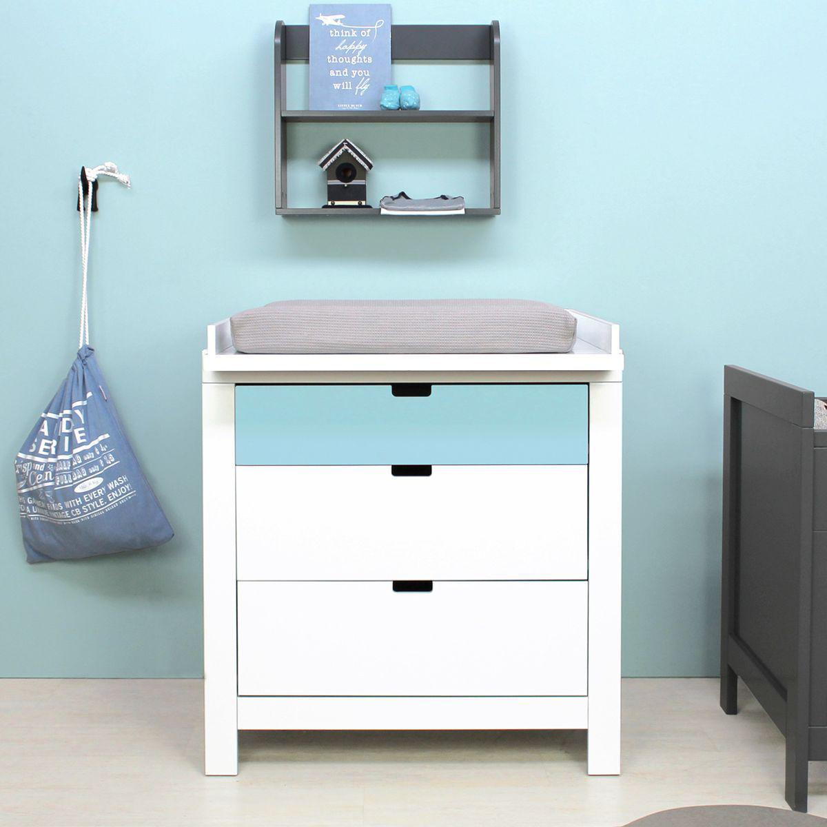 Commode 3 tiroirs BABYFLEX Bopita bleu clair