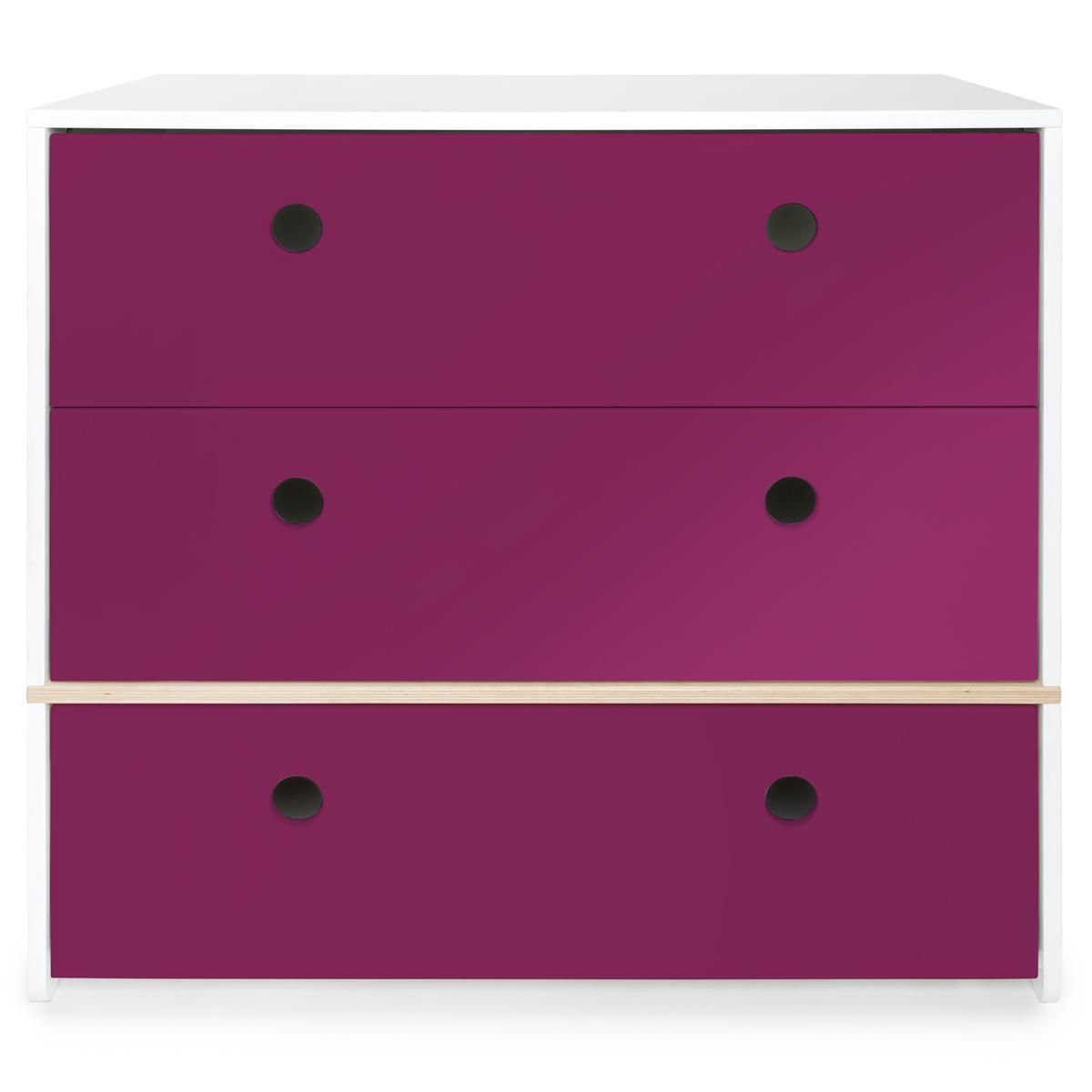 Commode 3 tiroirs COLORFLEX Abitare Kids façades tiroirs plum
