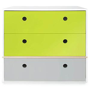 Commode 3 tiroirs COLORFLEX façades tiroirs lime-lime-pearl grey