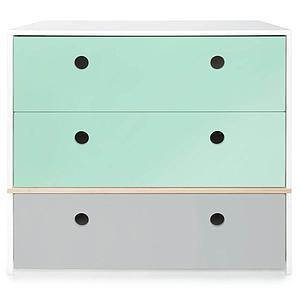 Commode 3 tiroirs COLORFLEX façades tiroirs mint-mint-pearl grey