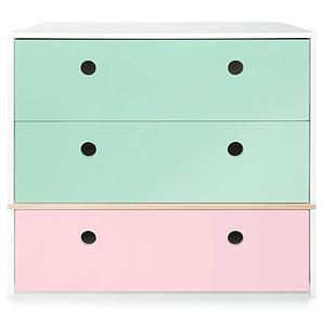 Commode 3 tiroirs COLORFLEX façades tiroirs mint-mint-sweet pink