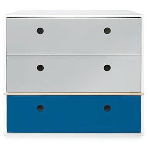 Commode 3 tiroirs COLORFLEX façades tiroirs pearl grey-pearl grey-deep marine