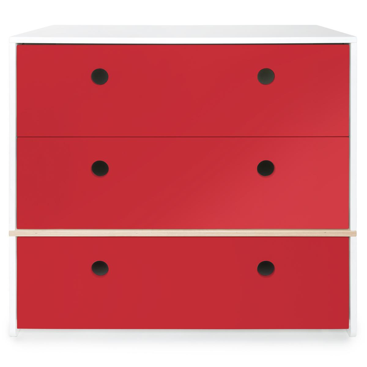 Commode 3 tiroirs COLORFLEX façades tiroirs true red
