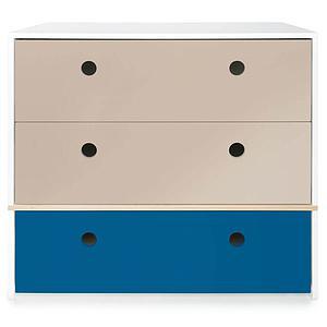 Commode 3 tiroirs COLORFLEX façades tiroirs warm grey-warm grey-deep marine