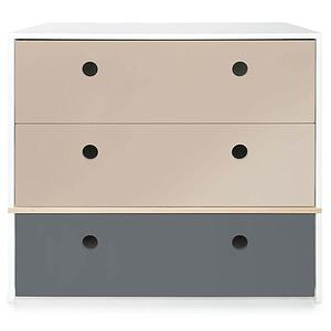 Commode 3 tiroirs COLORFLEX façades tiroirs warm grey-warm grey-space grey