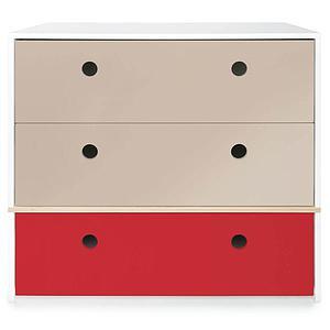 Commode 3 tiroirs COLORFLEX façades tiroirs warm grey-warm grey-true red