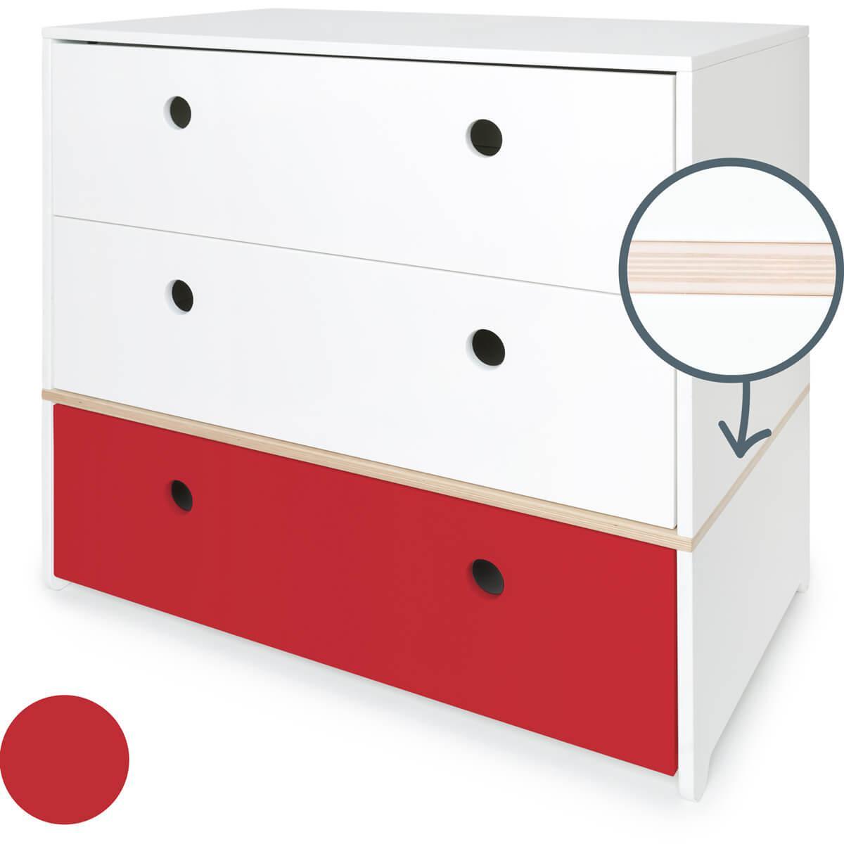 Commode 3 tiroirs COLORFLEX façades tiroirs white-white-true red
