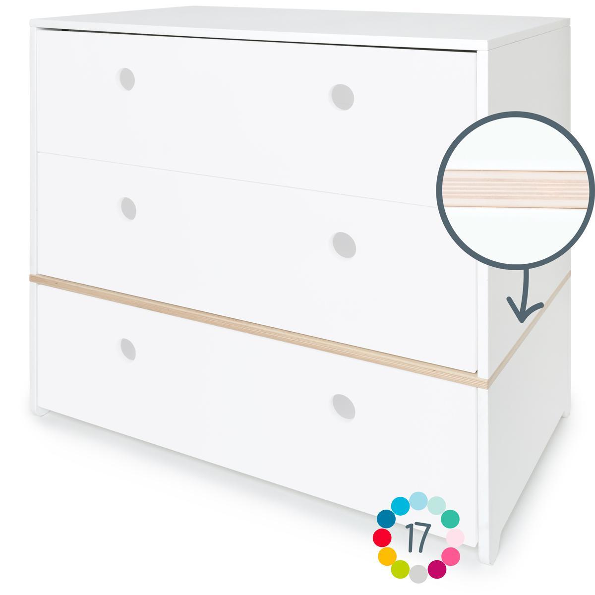 Commode 3 tiroirs hors façades tiroirs COLORFLEX