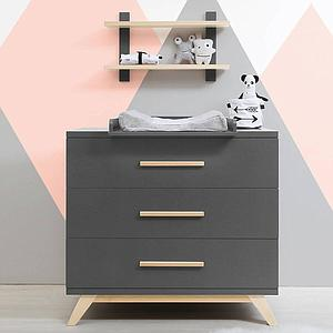 Commode 3 tiroirs KYAN Bopita deep grey-naturel