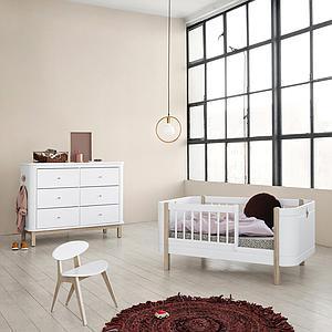 Commode 6 tiroirs WOOD Oliver Furniture blanc-chêne