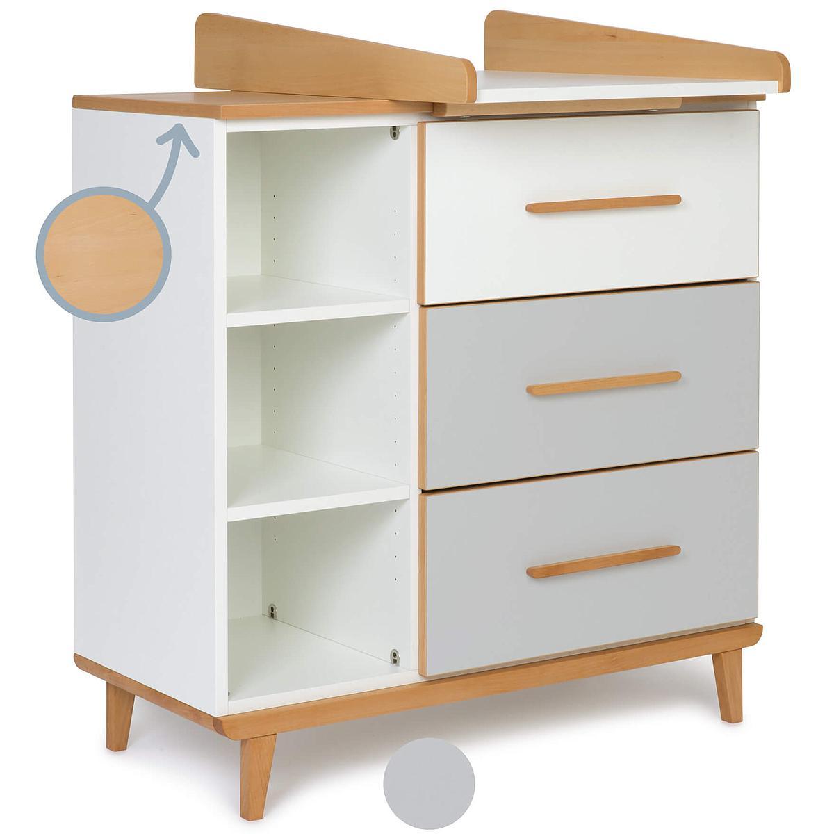 Commode à langer 3 tiroirs NADO By A.K. white-manhattan grey