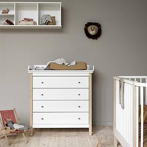 Commode à langer 4 tiroirs WOOD Oliver Furniture blanc-chêne