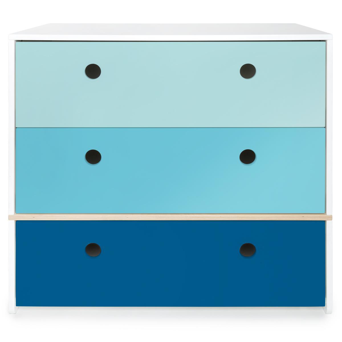 Commode COLORFLEX Abitare Kids façades tiroirs sky blue-paradise blue-deep marine