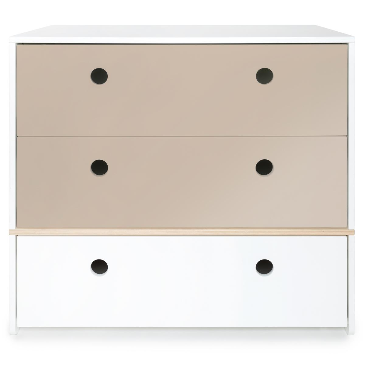 Commode COLORFLEX Abitare Kids façades tiroirs warm grey-warm grey-white
