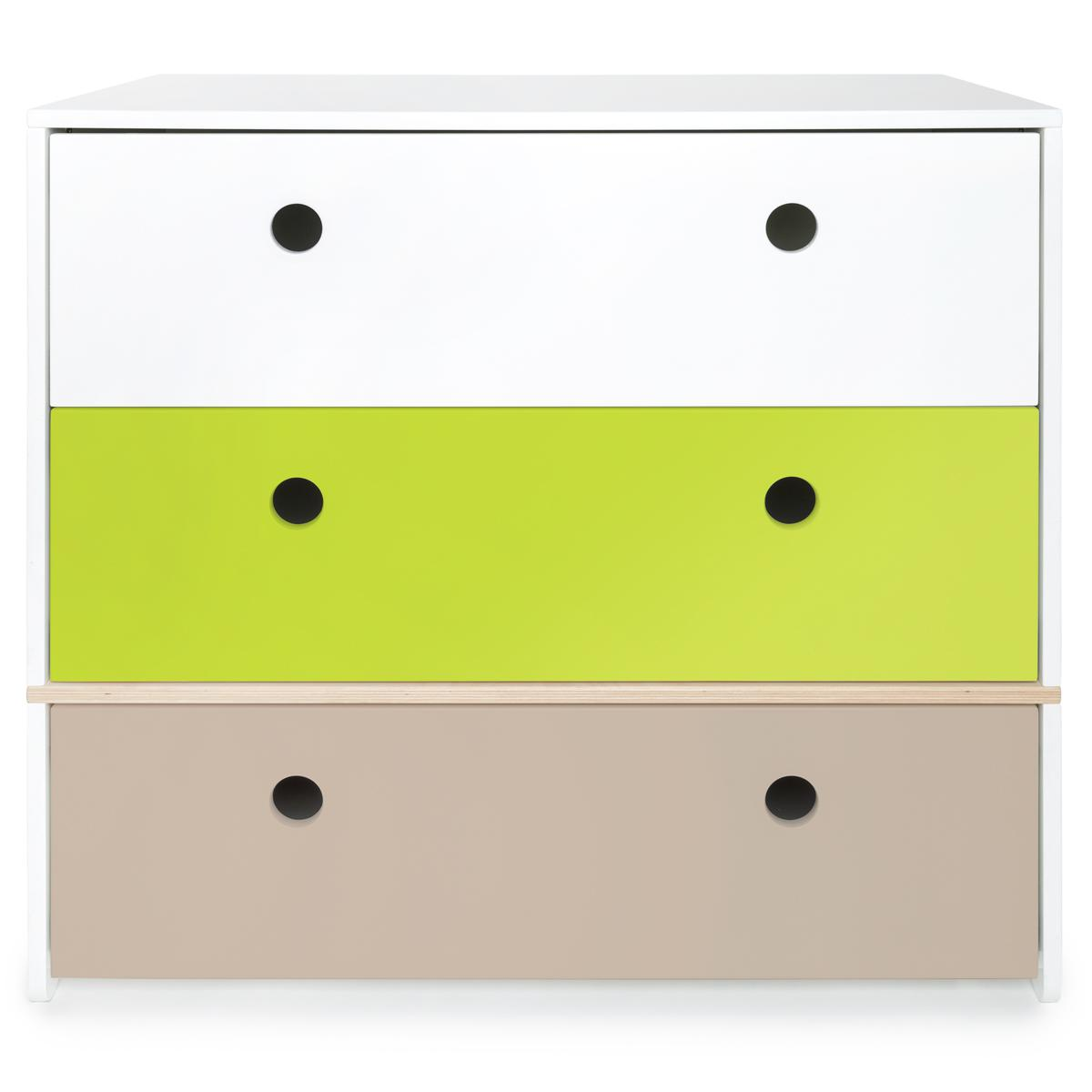 Commode COLORFLEX Abitare Kids façades tiroirs white-lime-warm grey