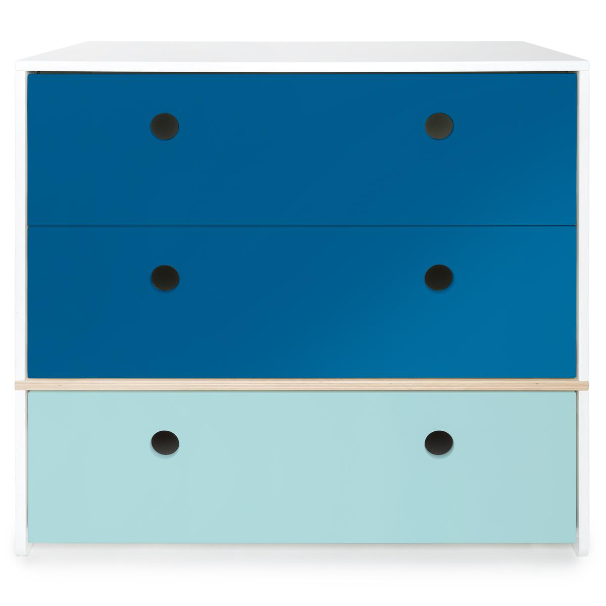 Commode COLORFLEX façades tiroirs deep marine-deep marine-sky blue
