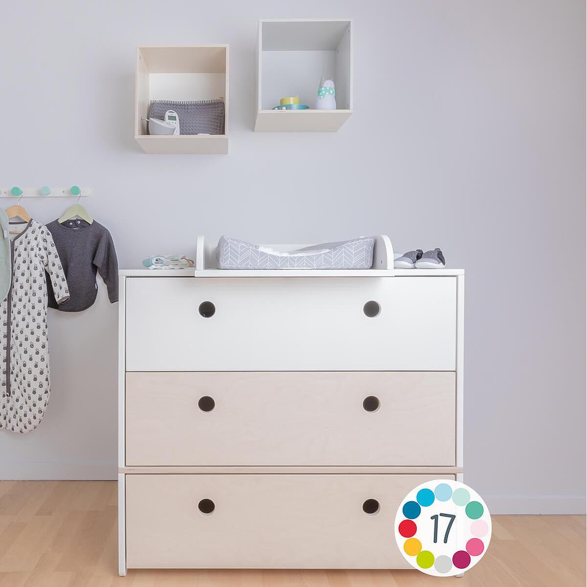 Commode COLORFLEX façades tiroirs mint-mint-white wash