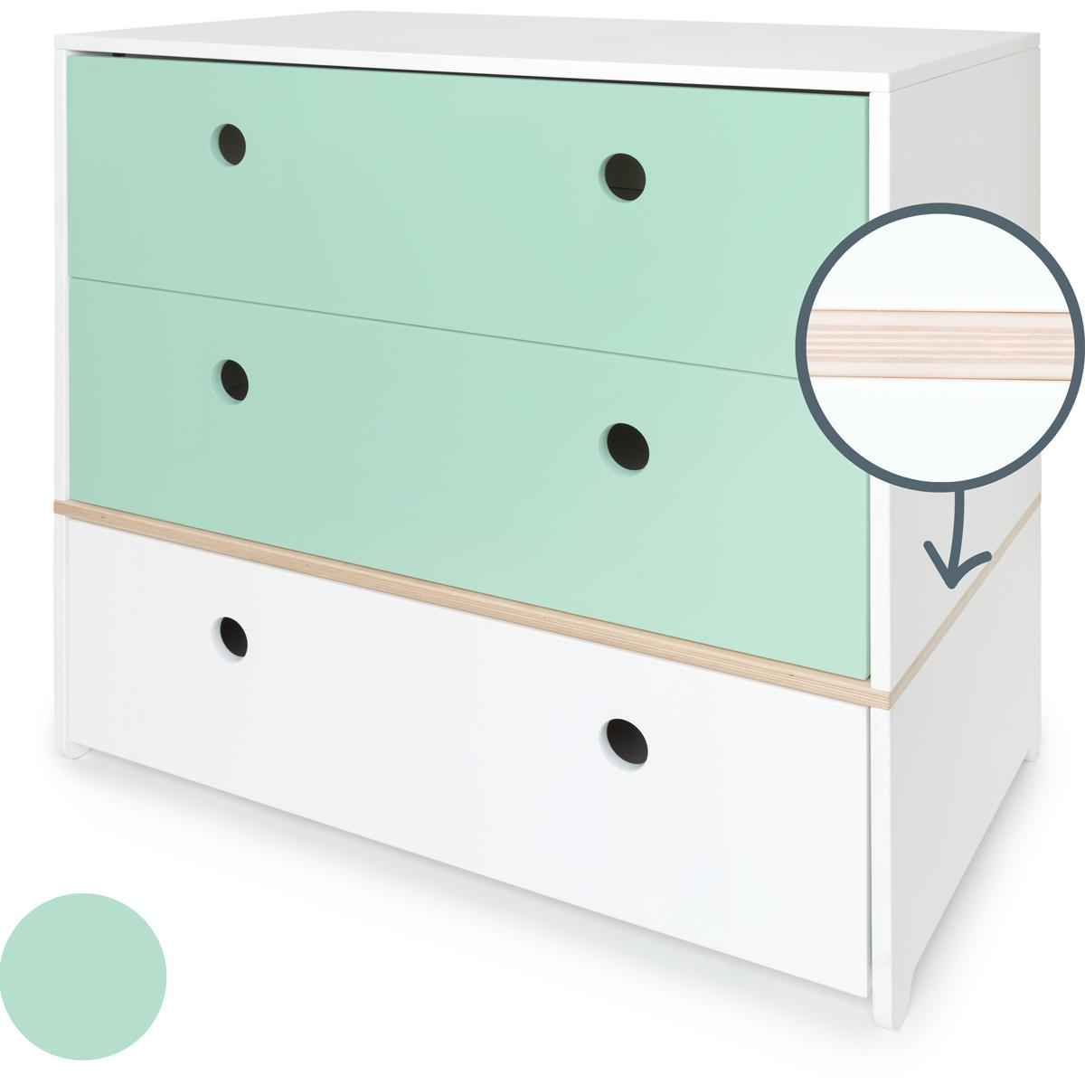 Commode COLORFLEX façades tiroirs mint-mint-white