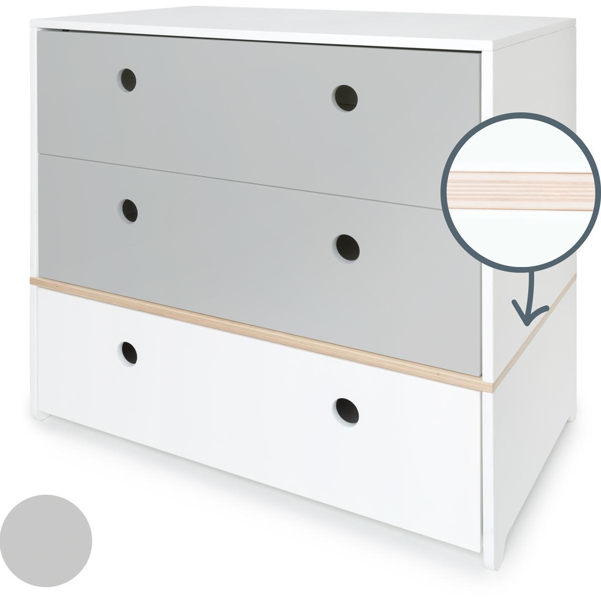 Commode COLORFLEX façades tiroirs pearl grey-pearl grey-white