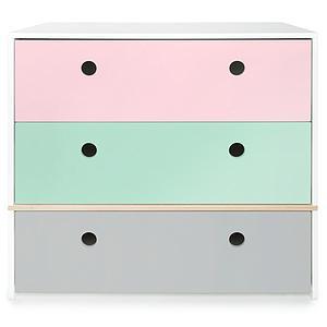 Commode COLORFLEX façades tiroirs sweet pink-mint-pearl grey