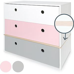 Commode COLORFLEX façades tiroirs white-sweet pink-pearl grey