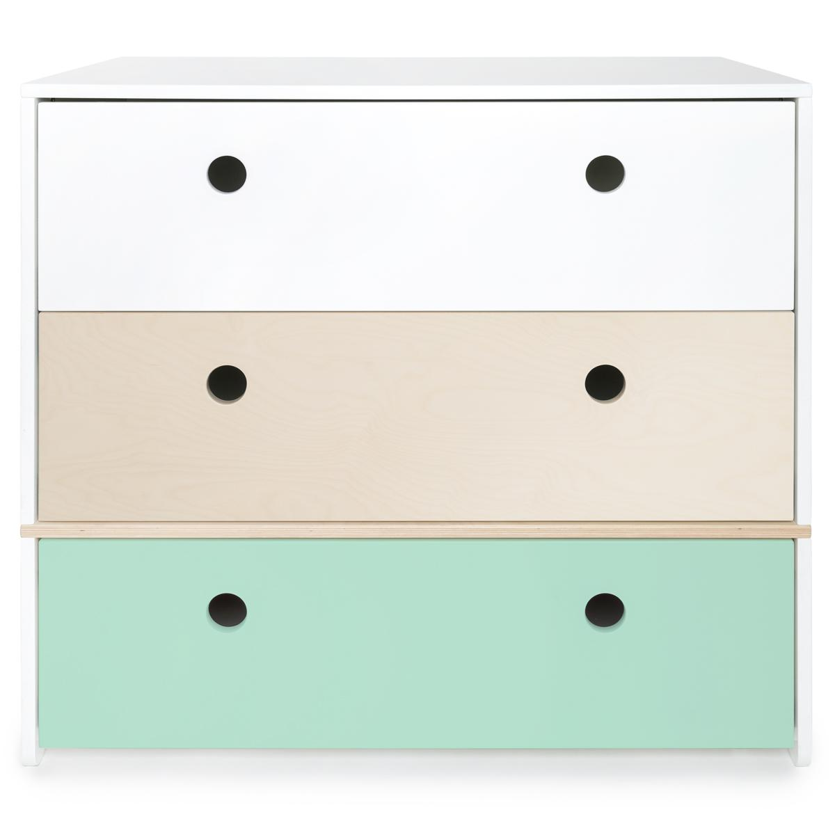 Commode COLORFLEX façades tiroirs white-white wash-mint