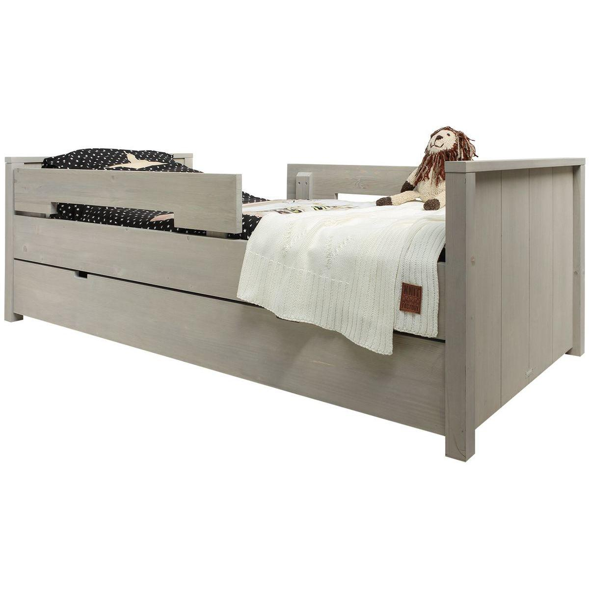 Lit 90x200cm BASIC WOOD Bopita gravel wash