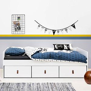 Lit banquette 3 tiroirs 90x200cm INDY Bopita blanc-natural