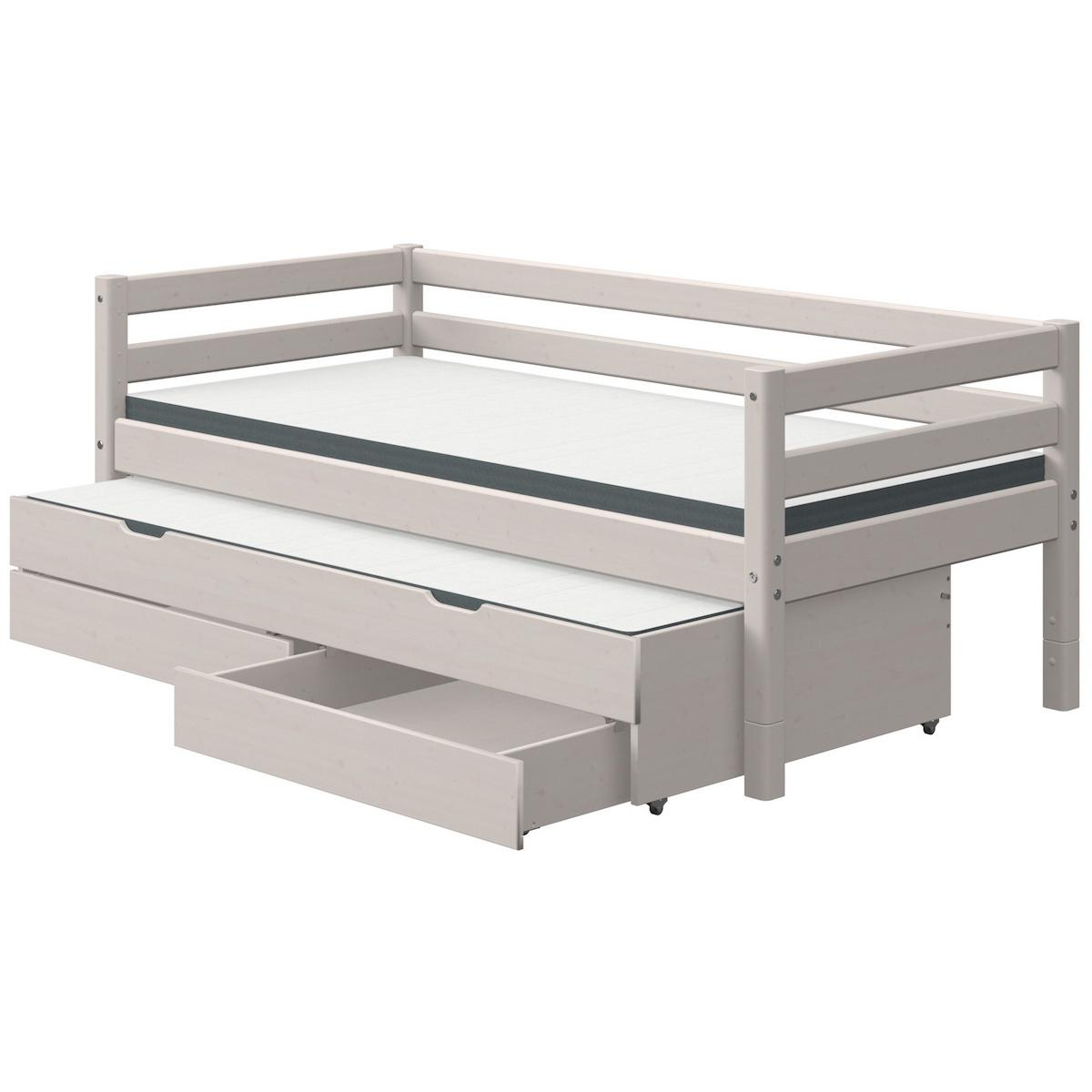Lit banquette 90x200cm lit gigogne 2 tiroirs CLASSIC Flexa grey washed