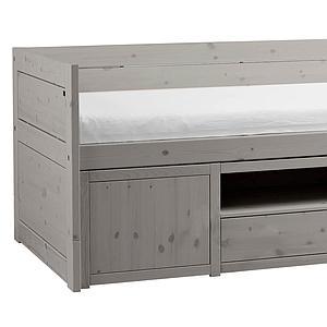Lit banquette 90x200cm rangement Lifetime greywash