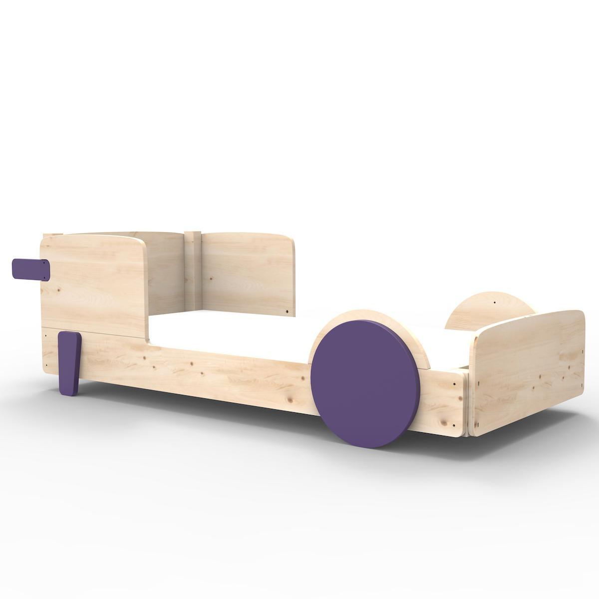 Lit bas 90x190cm DISCOVERY Mathy by Bols violet cuberdon