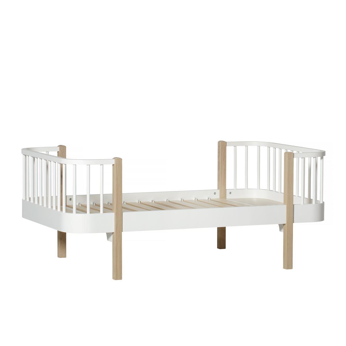 Lit bas évolutif 90x160cm WOOD Oliver Furniture blanc-chêne